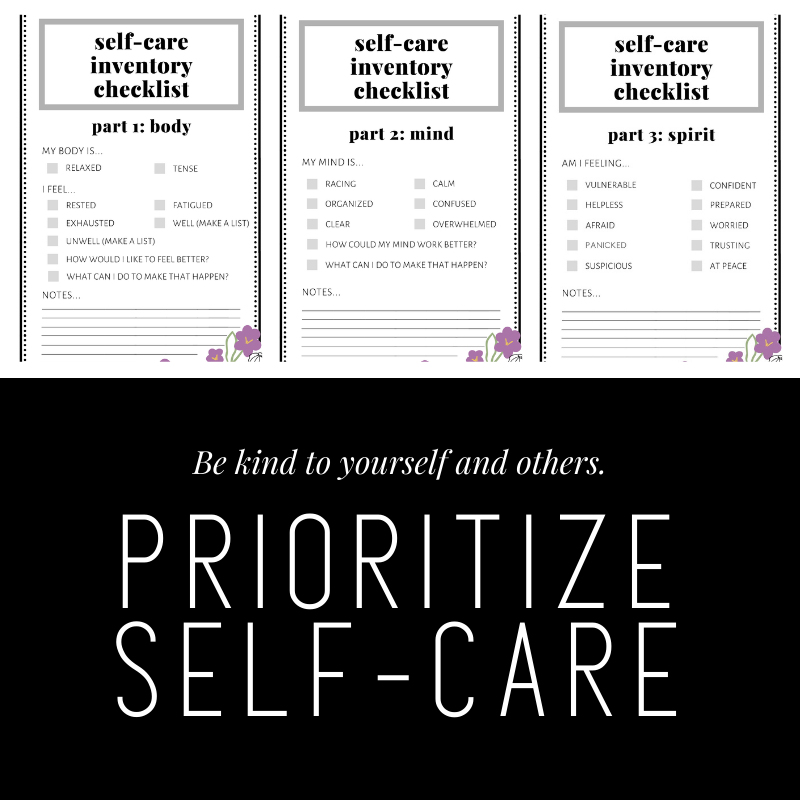 Self-Care preview of checklists